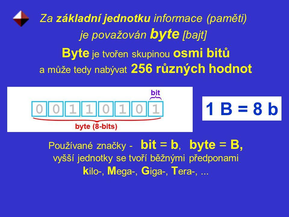 Za základní jednotku informace (paměti) je považován byte [bajt]